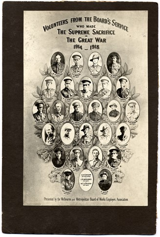 Portraits of volunteers from the MMBW who served and lost their lives in the Great War