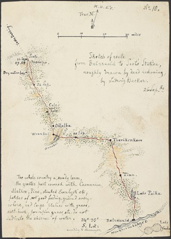 Sketch of route from Balranald to Scot's Station, roughly drawn by dead reckoning.
